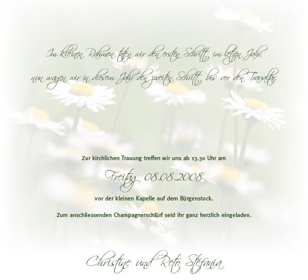 Hochzeitseinladung - Gänseblümchen auf der Wiese