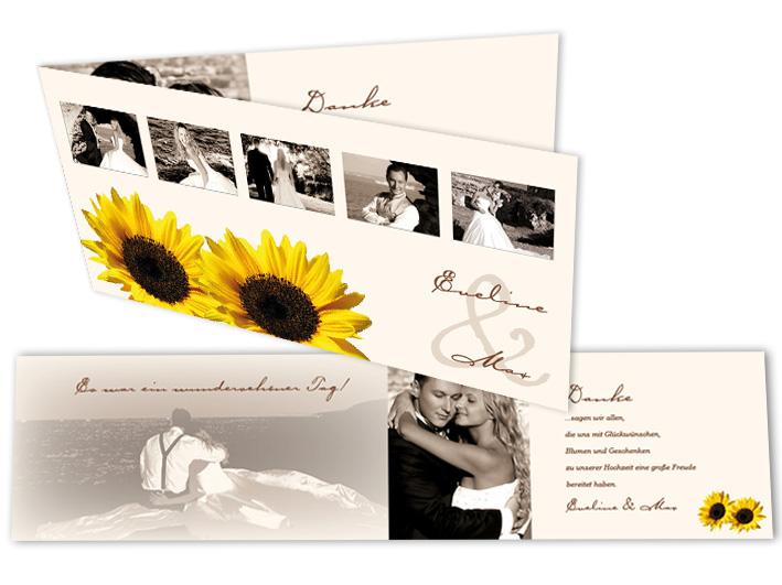 dankeskarten mit foto die sonnenblume. Black Bedroom Furniture Sets. Home Design Ideas