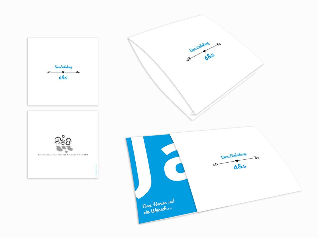 Einsteck kuverts welch ein paar blau din lang einzelkarte 1