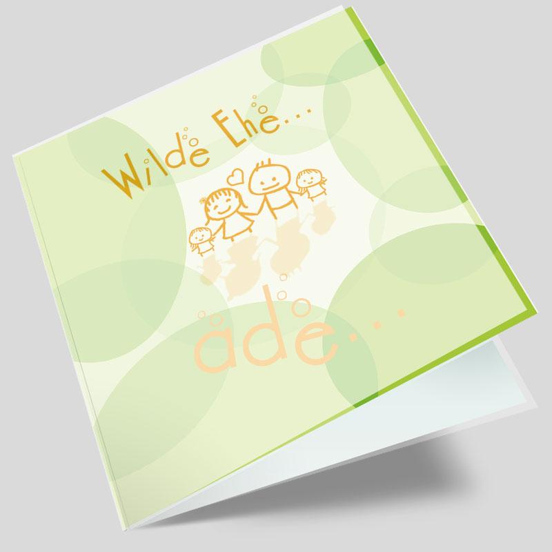 Hochzeitseinladungskarte - Wilde Ehe ade - Grün