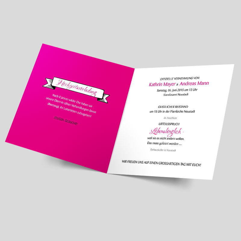 Hochzeitskarte - Wilde Ehe aus juristischer Sicht - Pink