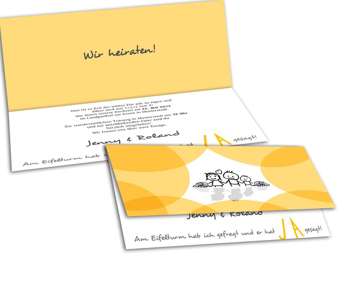 Hochzeitseinladung - vom Paar zur Familie - Gelb