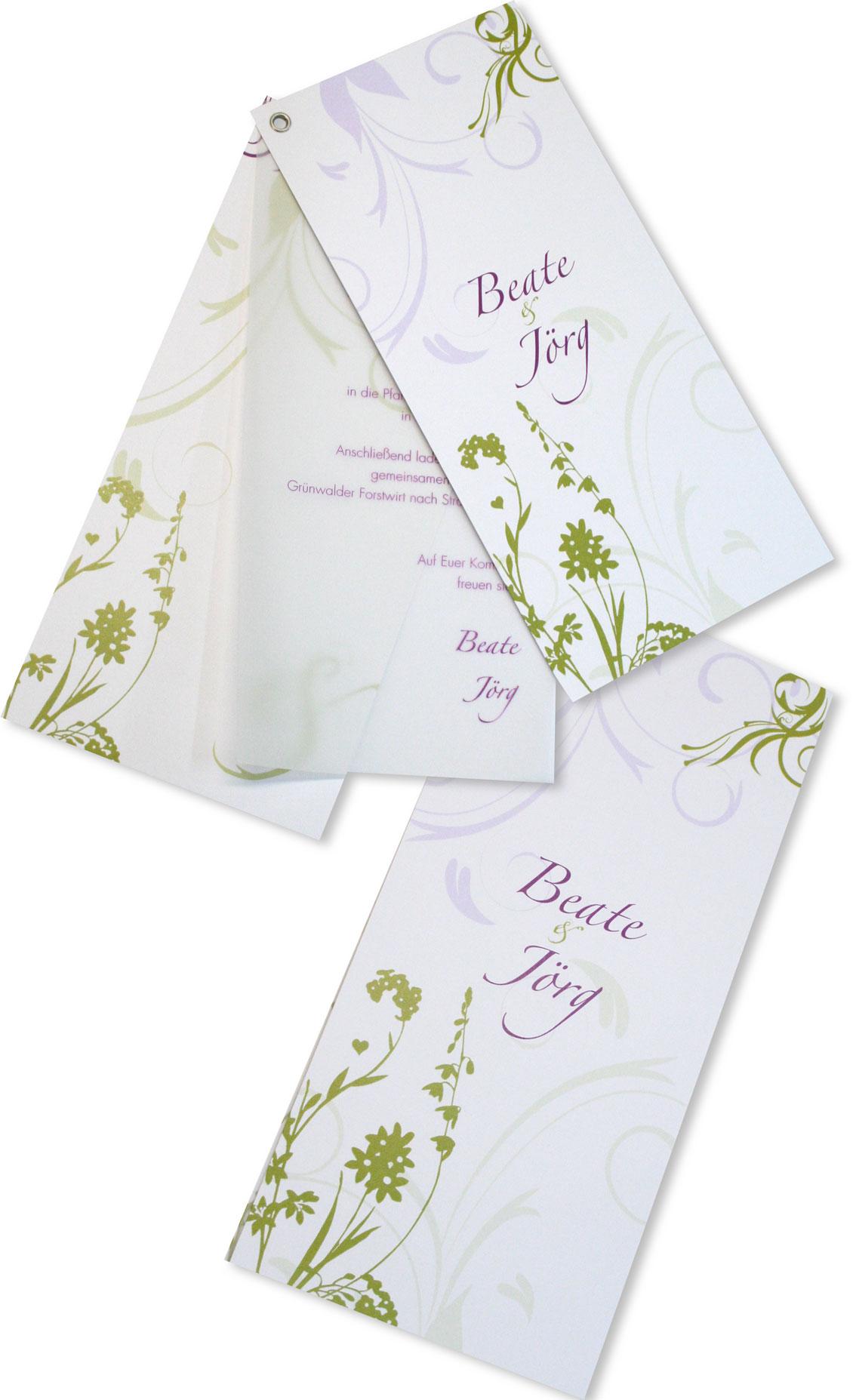 Hochzeitseinladung ösenkarte blühende ornamente
