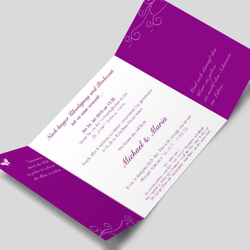 Altarfalz Hochzeitseinladung Das Grosse Flattern Violett