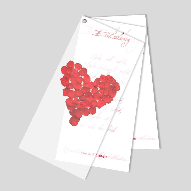 Facher Hochzeitseinladung Rosenblatter