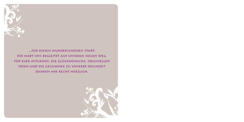 Dankeskarten liebesbaum in braun - Hochzeitseinladung text modern ...