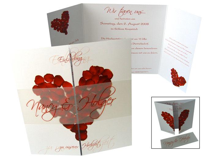 altarfalz hochzeitseinladung - rosenblätter in rot, Einladung