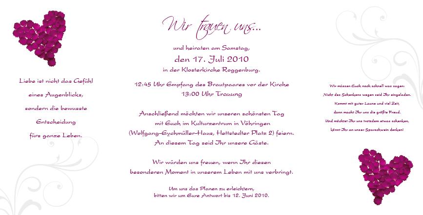 Herzergreifende Hochzeitseinladungen mit einem Herz aus Rosenblüten ...