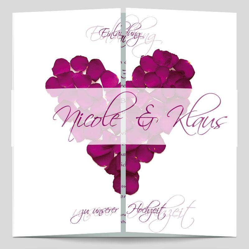 altarfalz hochzeitseinladung rosenbl tter violett. Black Bedroom Furniture Sets. Home Design Ideas