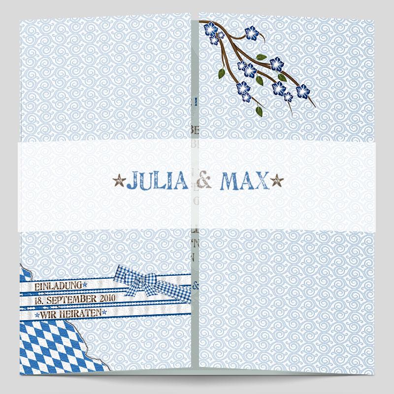 Altarfalz Hochzeitseinladungskarte Zunftig Bayrisch