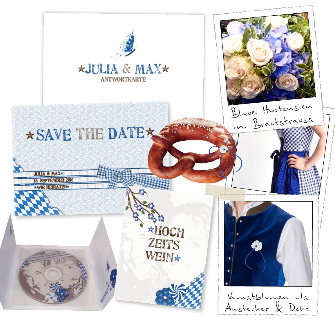 Altarfalz Hochzeitseinladungskarte Zuenftig Bayrisch