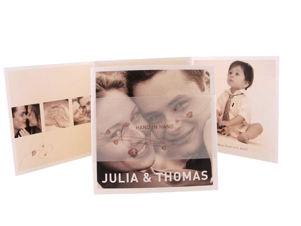 ... Hochzeitseinladungen mit eleganter Banderole aus Transparentpapier zu
