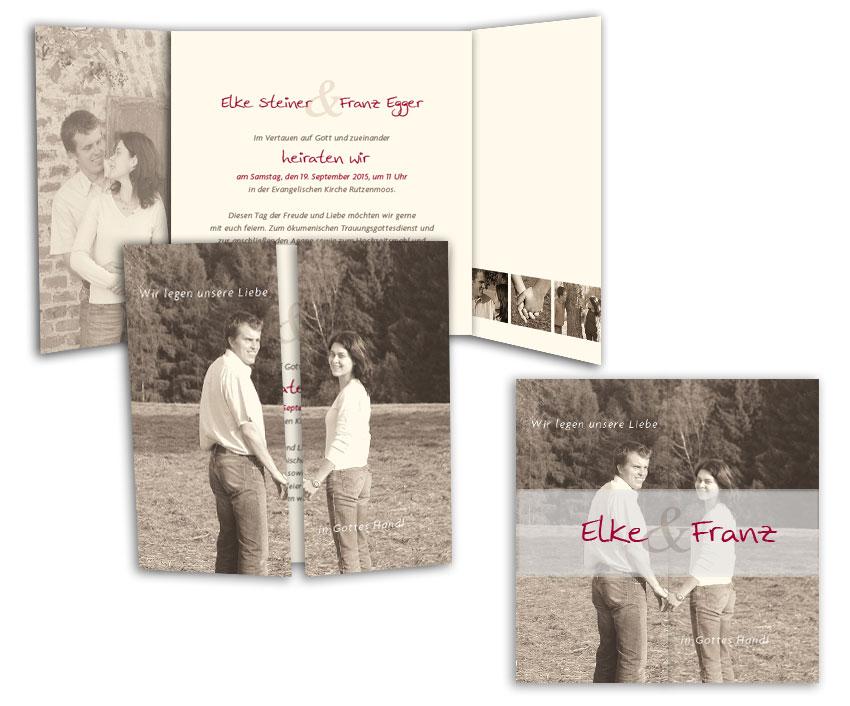 Fotokarte Hochzeitseinladung - Freudestrahlend