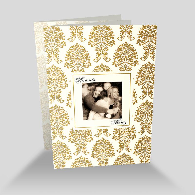 Fotokarte Hochzeit Goldene Ornamente Barock