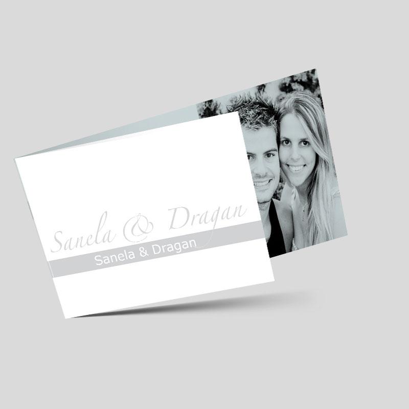 Foto Hochzeitseinladungskarte - Pure Freude - Grau