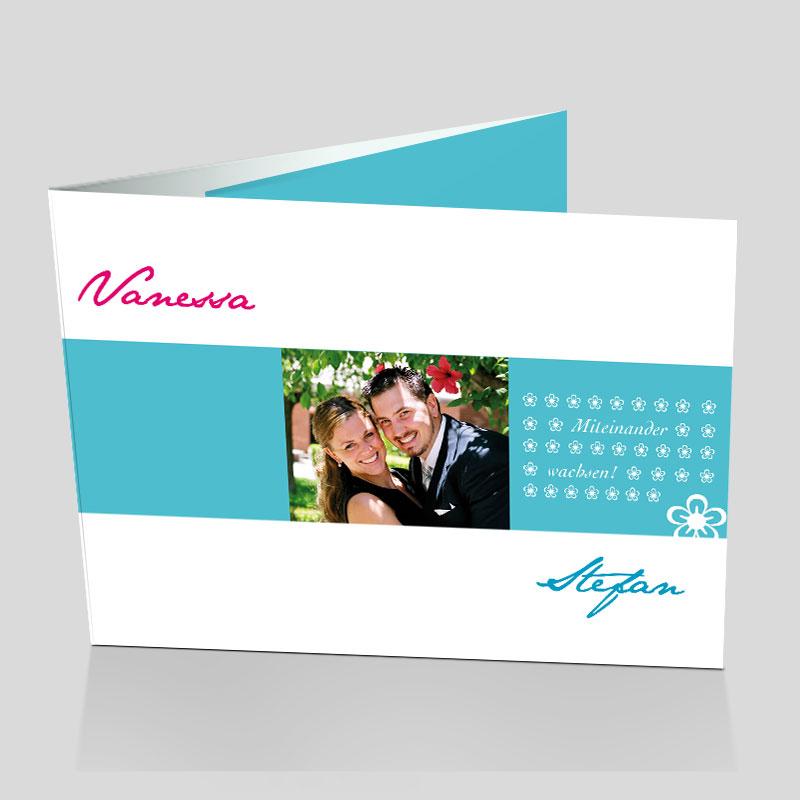 Fotokarte Hochzeitseinladung - Blümchen
