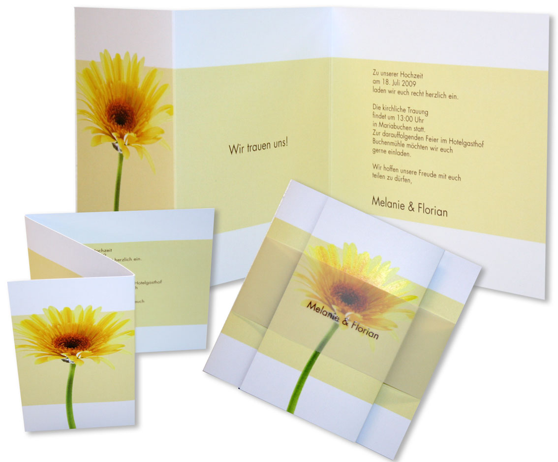 Fotokarte hochzeitseinladung gelbe gerbera