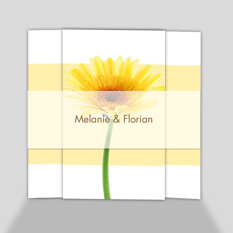 Fotokarte Hochzeitseinladung - Gelbe Gerbera