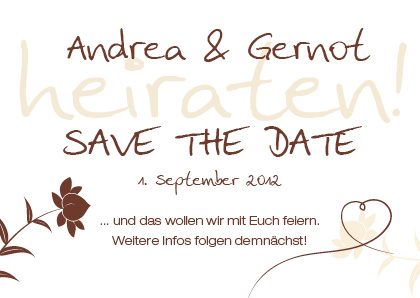 save the date karten vintage muster baum mit liebesherz. Black Bedroom Furniture Sets. Home Design Ideas
