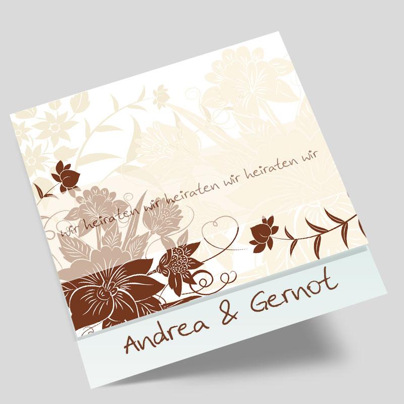 Foto - Hochzeitseinladungen - Vintage Muster & Baum mit Liebesherz