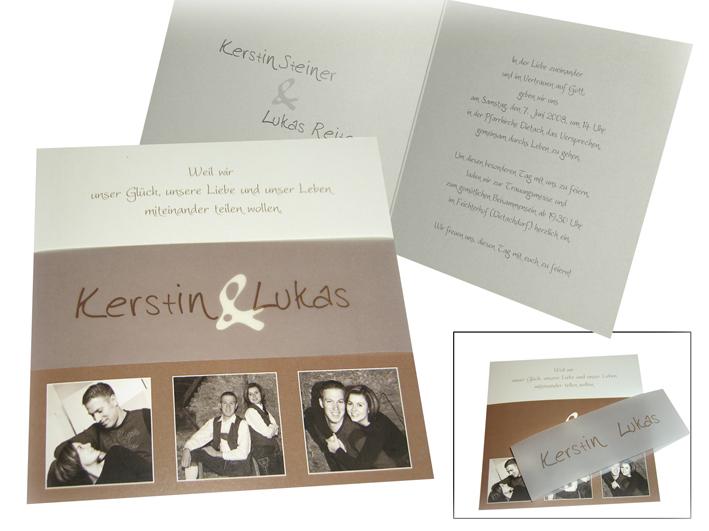 Fotokarte hochzeit blickfang in braun - Hochzeitseinladung text modern ...