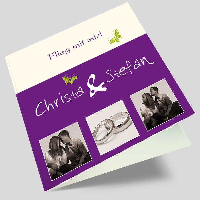 Hochzeitseinladungen grun violett