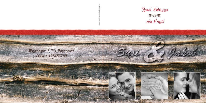 Hochzeitseinladung mit foto blickfang holz for Hochzeitseinladung holz