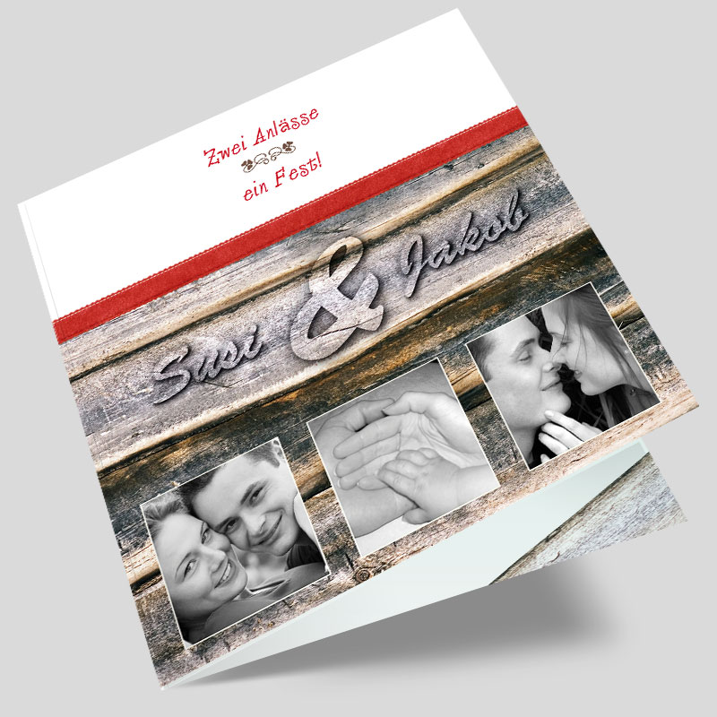 Hochzeitseinladung Mit Foto Blickfang Holz