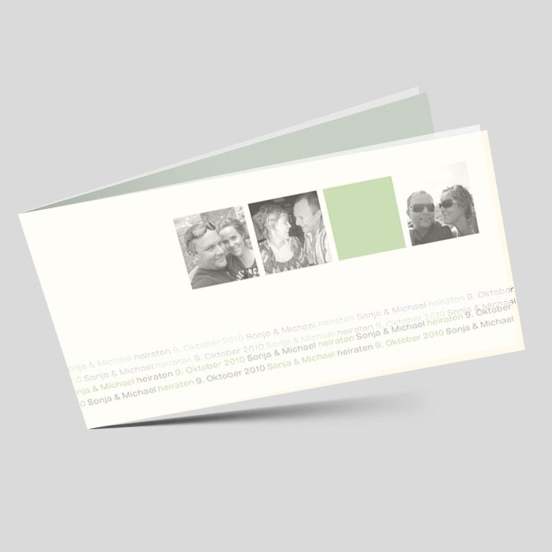 Fotokarte Hochzeitseinladung Momentaufnahme In Grun