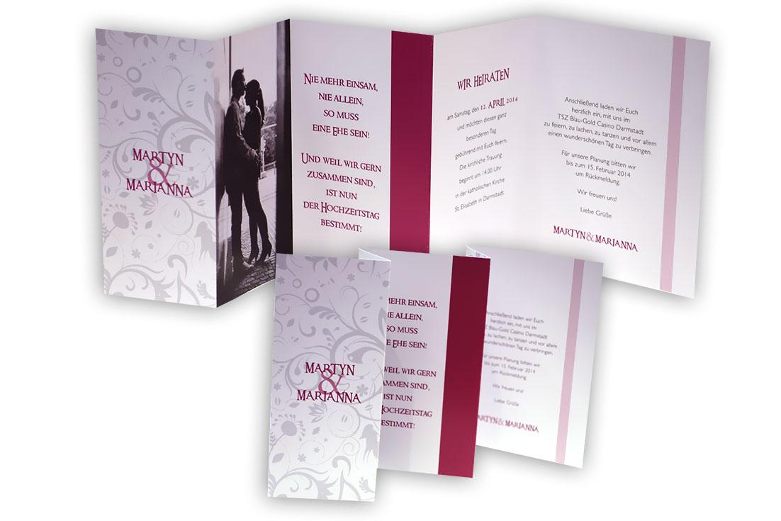 Leporello Foto Hochzeitseinladung Pink