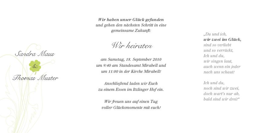 fotokarte hochzeitseinladung mit kleeblatt -glücksbringer, Einladung