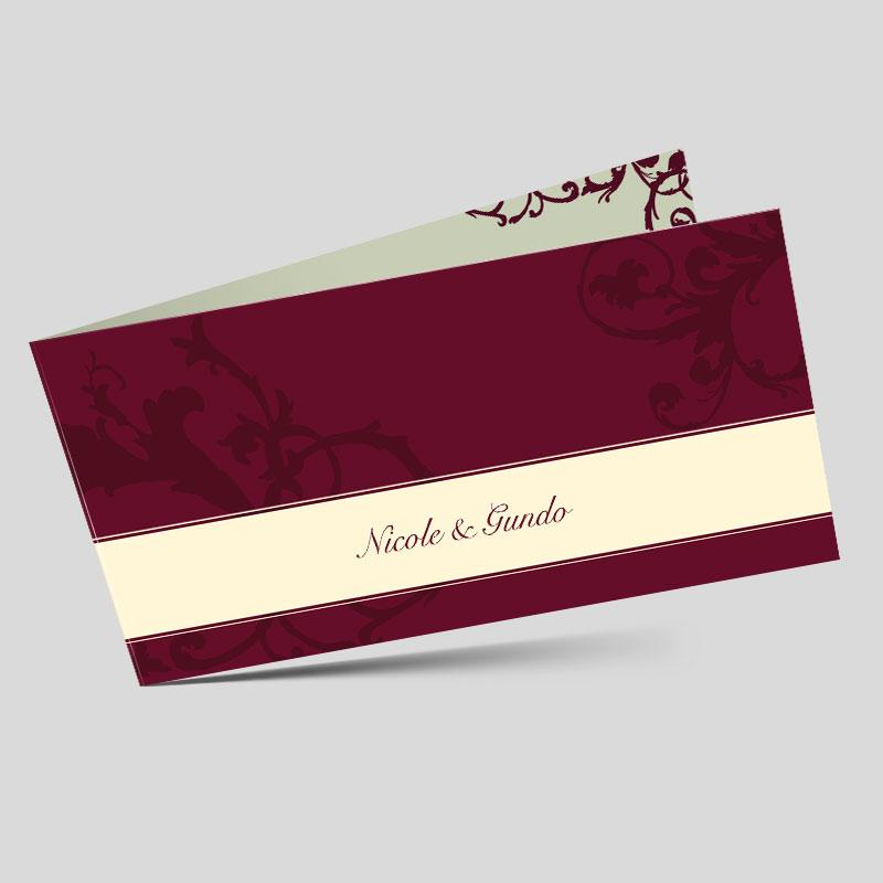 Hochzeitseinladungskarte Vintage Ornamente Weinrot