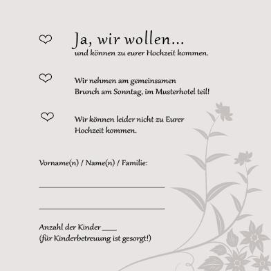 Antwortkarten Florale Elemente In Grau