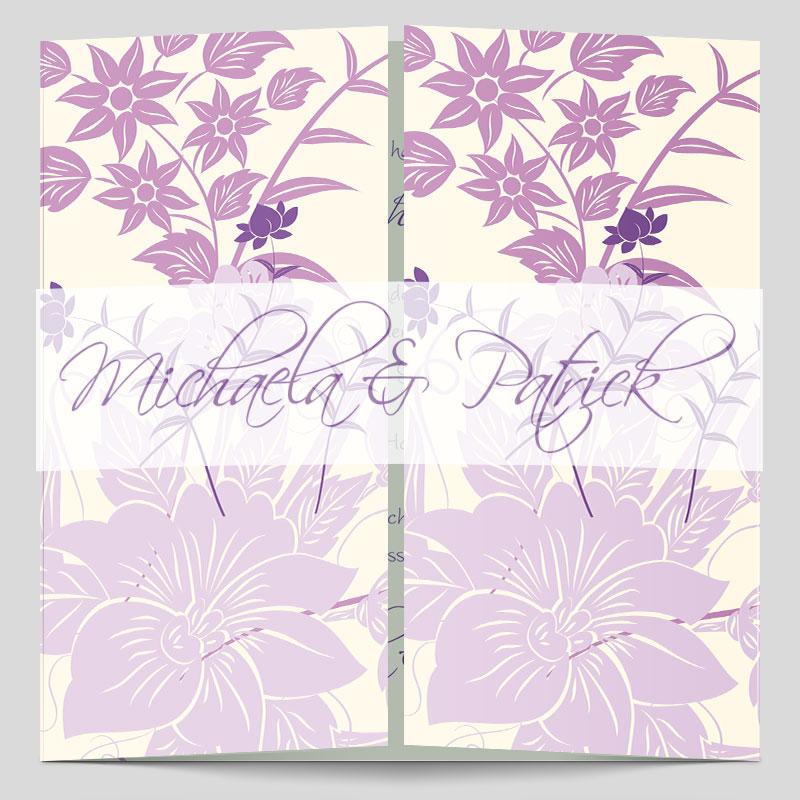 Hochzeitseinladung Florale Elemente In Flieder
