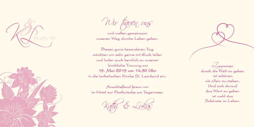 Altarfalz Hochzeitseinladung - Florale Elemente in Pink