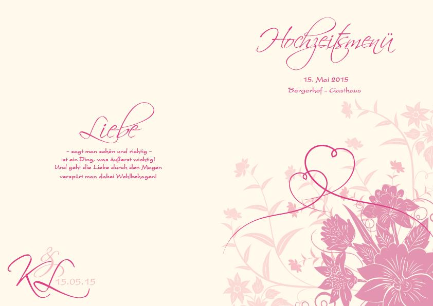 Altarfalz Menukarten Florale Elemente In Pink
