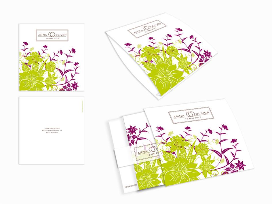 Schicker Falz Und Florale Ornamente Einsteck Kuverts Violett Grun