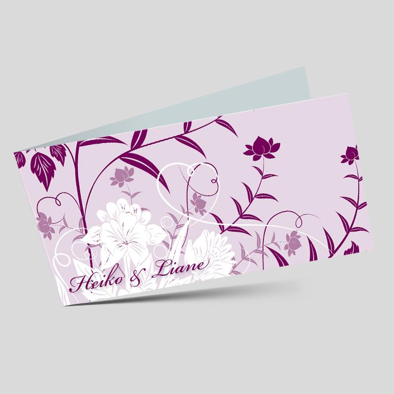 hochzeitseinladung florale elemente in lila. Black Bedroom Furniture Sets. Home Design Ideas