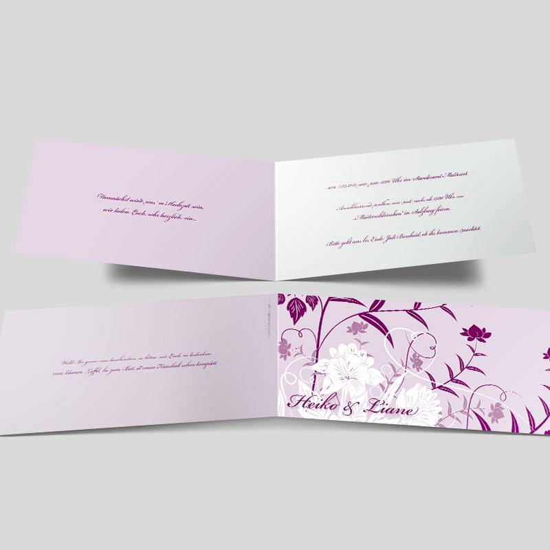 Hochzeitseinladung Florale Elemente In Lila