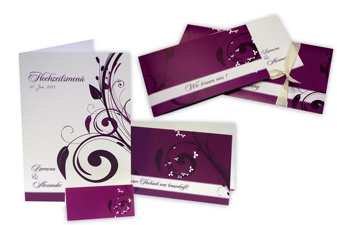 Hochzeitseinladung stylishe ornamente in brombeer