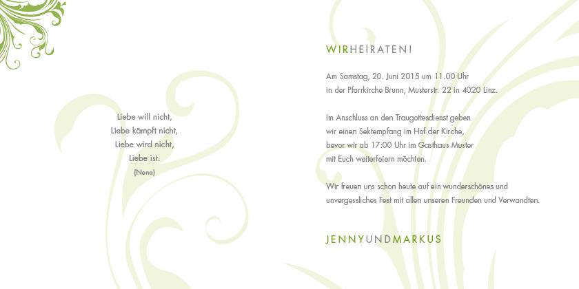 Hochzeitseinladung zarte ornamente - Hochzeitseinladung text modern ...