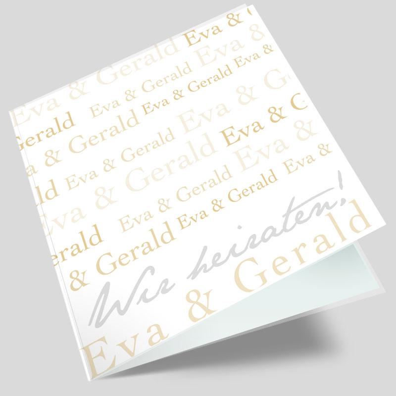 Hochzeitseinladung Schriftreich Gold