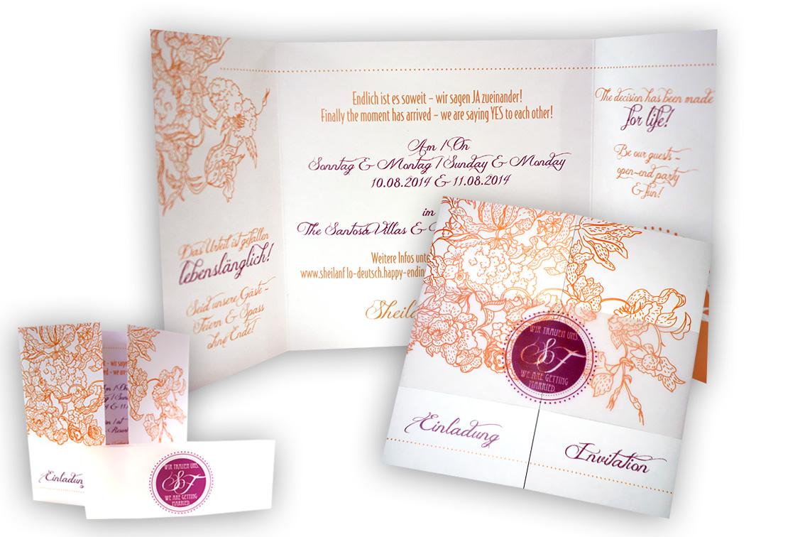 Altarfalz hochzeitseinladung mit hochzeitsmonogramm - Hochzeitseinladung text modern ...