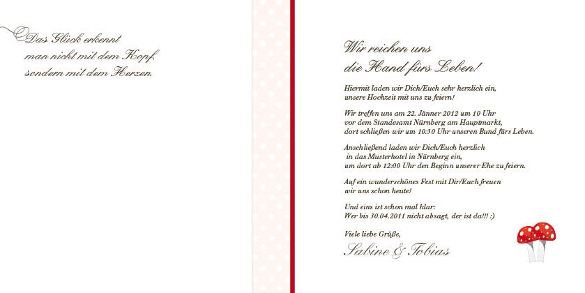 Hochzeitseinladung Glucksbringer Fliegenpilz