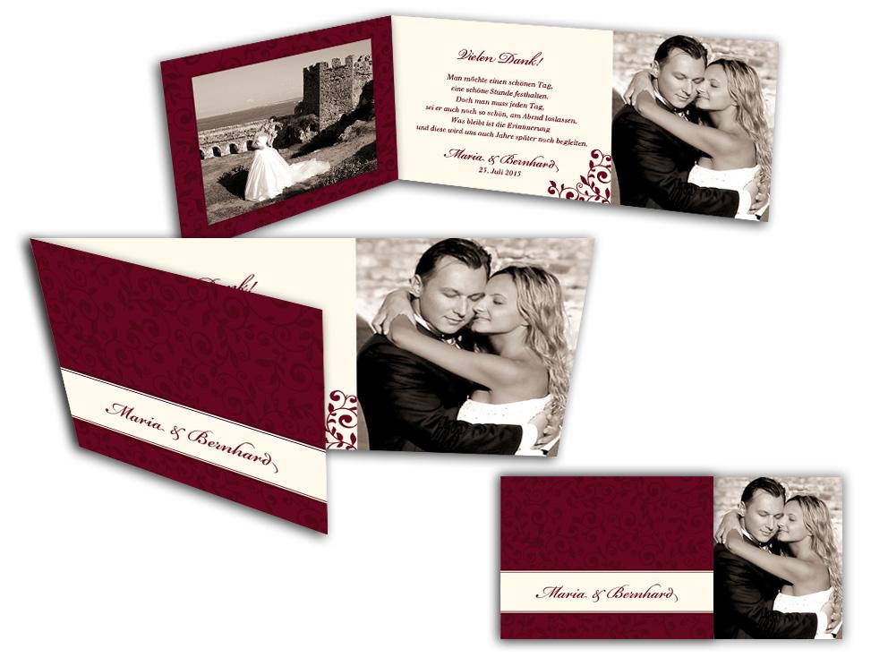 Danksagungskarte Hochzeit Vintage Ornamente