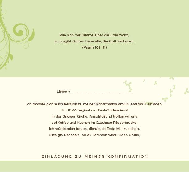 einladungen zur konfirmation / firmung, Einladung