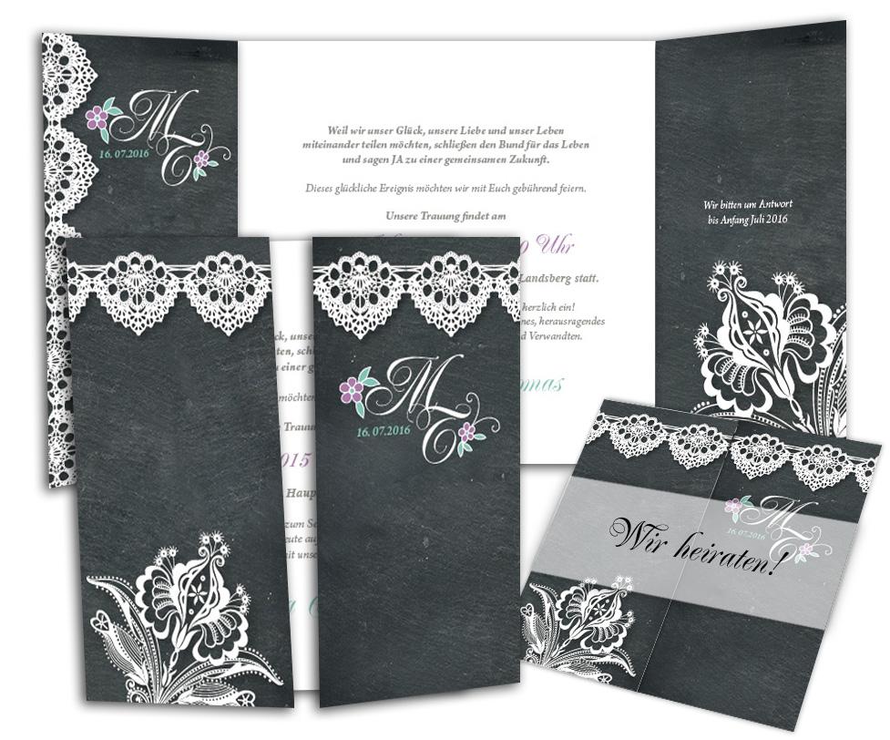 Edle Hochzeitseinladungskarte Im Vintagestil Schiefer Mit Spitze