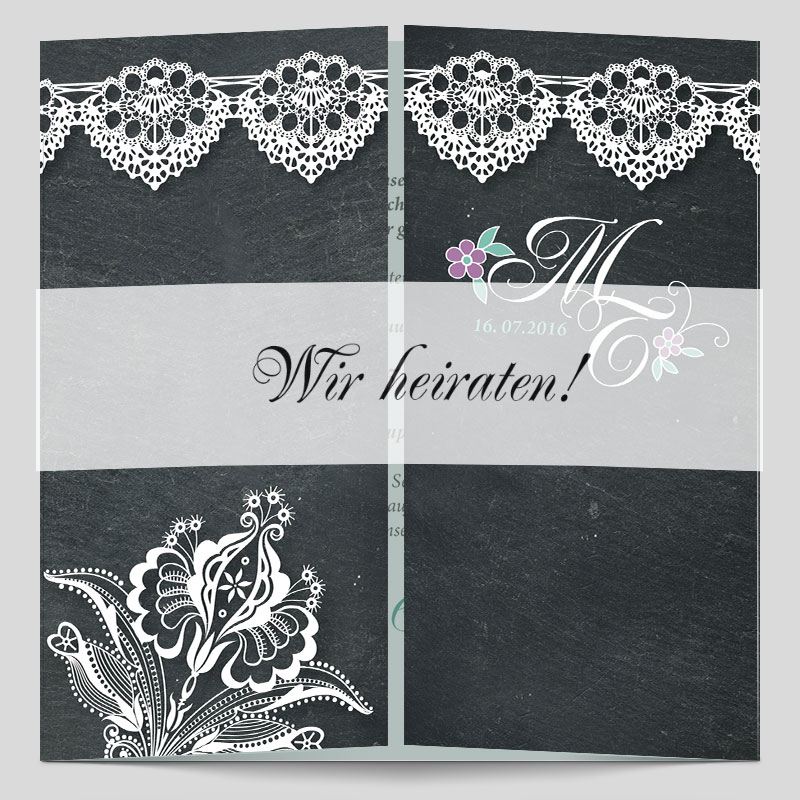 Edle hochzeitseinladungskarte im vintagestil schiefer - Hochzeitseinladungen mit spitze ...