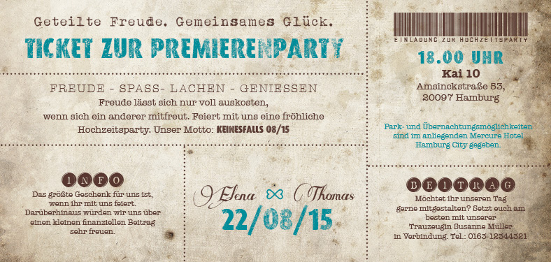 Vintage Ticket Hochzeitskarten Believe In Magic