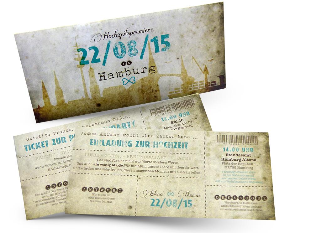 Vintage Ticket Hochzeitskarten Believe In Magic